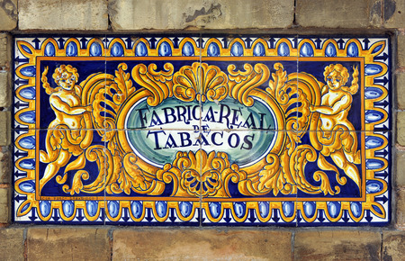 fabrica: Tile, Former Royal Tobacco Factory, Sevilla, Andalusia, Spain Editorial