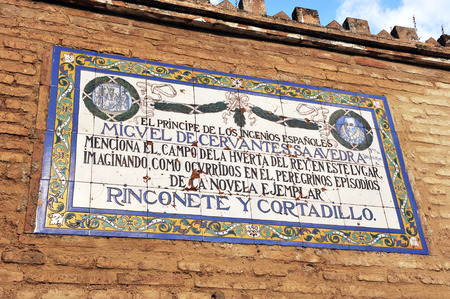 titled: Commemorative tile of the novel titled Rinconete y Cortadillo written by Miguel de Cervantes, Seville, Andalusia, Spain Editorial