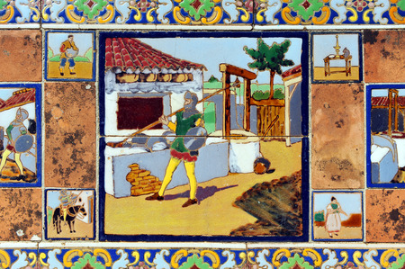don quijote: Don Quijote armado caballero, azulejo, mosaico