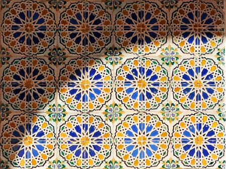 Motif de style arabe, vieilles tuiles, fond, Séville, Espagne