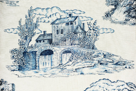 watermills: Hydraulic mill, flowing water, printed pattern on canvas, textile texture