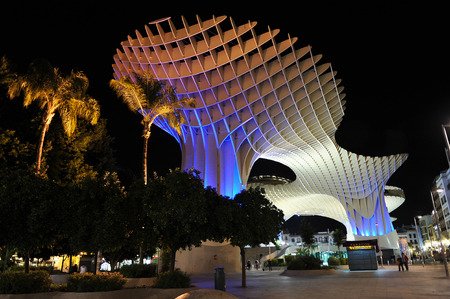 scenical: Panoramic view, modern architecture, Metropol at night, Setas, Seville, Andalusia, Spain Editorial