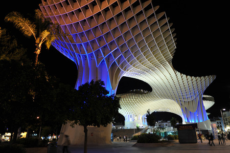 scenical: Metropol at night, Setas, panoramic view, vanguardist architecture, Seville, Andalusia, Spain Editorial