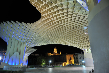 Modern Architecture Spain metropol at night, panoramic view, modern architecture, seville