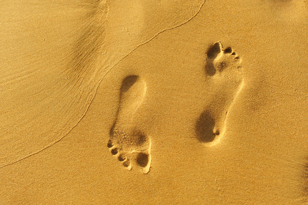 back and forth: Walking on the beach, footprints in the sand, back and forth