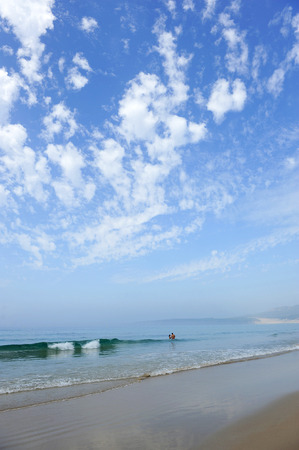 bathers: Bathers on the Bolonia beach, Tarifa, Costa de la Luz, Cadiz province, Andalusia, Spain Stock Photo