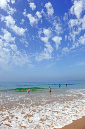 bathers: Bathers on the Bolonia beach, Costa de la Luz, Cadiz province, Andalusia, Spain Editorial