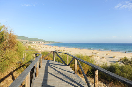 Wooden path, Bolonia beach, panoramic view, Costa de la Luz, Cadiz, Andalusia, Spain Stock Photo