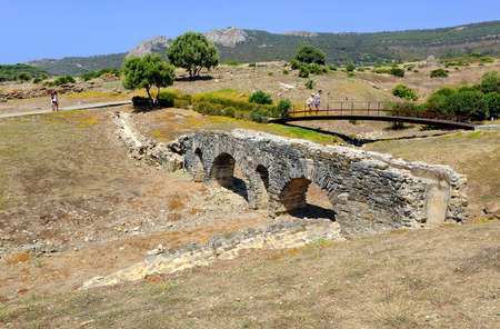 tarifa: Aqueduct of the Roman city of Baelo Claudia, Archaeological site, Tarifa, Cadiz province, Spain