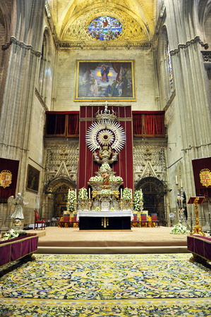 Altar of Corpus Christi, inside the Gothic cathedral in Seville, Andalusia, Spain