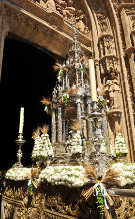 Monstrance of Arfe, Religious procession of Corpus Christi, entry into the Cathedral of Seville, Andalusia, Spain