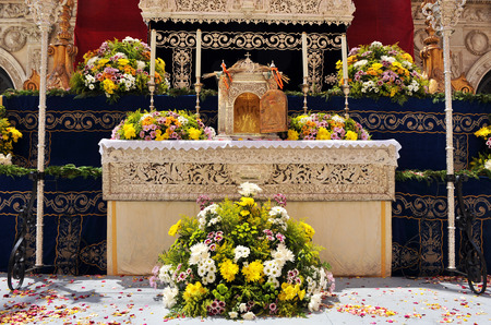 Altar of Corpus Christi in the street, Seville, Andalusia, Spain