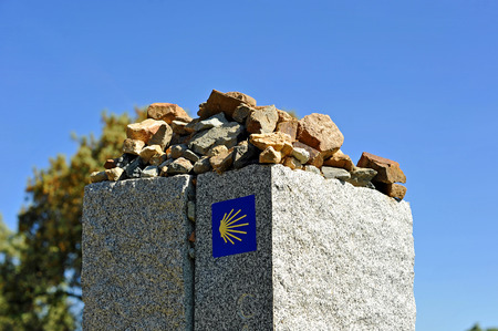 Monolith: Stone monolith on the Camino de Santiago, Sevilla province, Andalusia, Spain