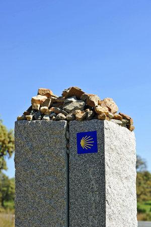 camino: Stone monolith on the Camino de Santiago, Sevilla province, Andalusia, Spain