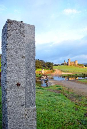 camino de santiago: Stone monolith on the Camino de Santiago, Real de la Jara, Sevilla province, Andalusia, Spain Editorial
