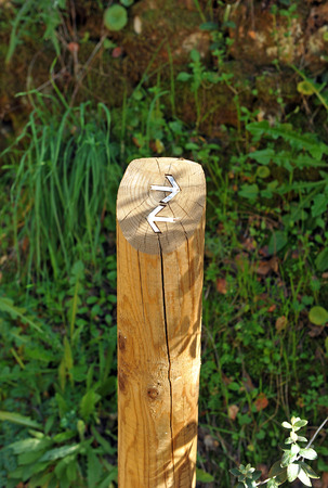 wooden post: Wooden post with arrows, signal path, hiking