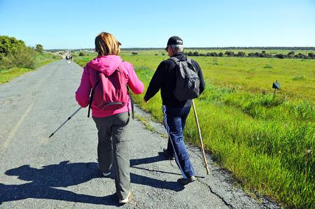 camino: Couple of backpackers, Camino de Santiago, Merida, Via de la Plata, Badajoz province, Extremadura, Spain