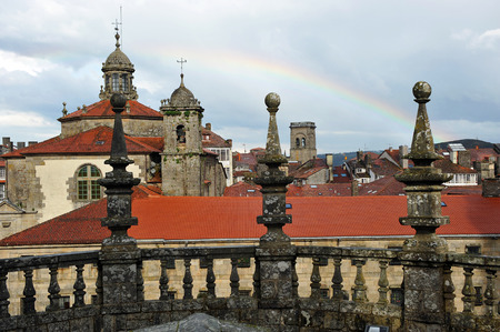 Silhouette of Santiago de Compostela from the roof of the cathedral photo