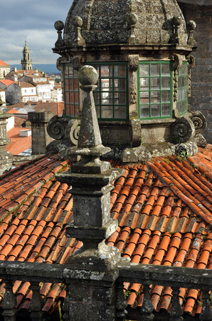 octogonal: Linterna y baldosas techos octogonales, Catedral de Santiago de Compostela, Galicia, Espa�a