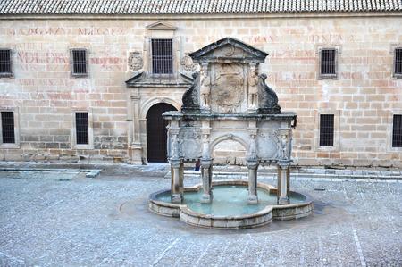 university fountain: Renaissance square of Santa Maria in Baeza, Jaen province, Andalusia, Spain
