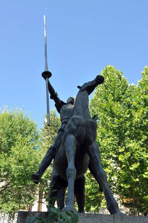don quichotte: Sculpture de Don Quichotte, place du Pilar, Ciudad Real, Castille-La Mancha, Espagne Banque d'images