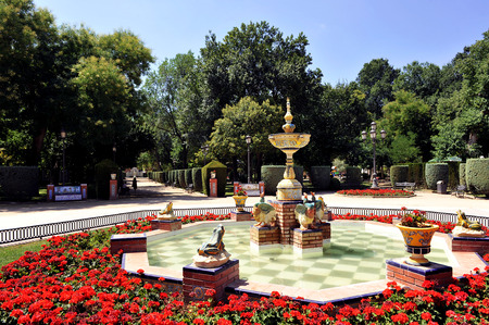 Monumental ceramic fountain in the Gasset park, Ciudad Real, Spain photo