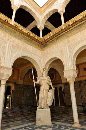 Athena, mythological goddess roman sculpture in Palace of Pilate, Seville, Andalusia, Spain