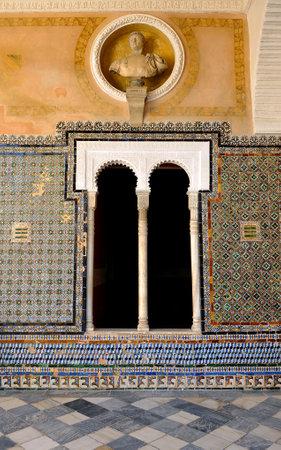 mudejar: Palace House of Pilatos, Mudejar art in Seville, Spain Editorial