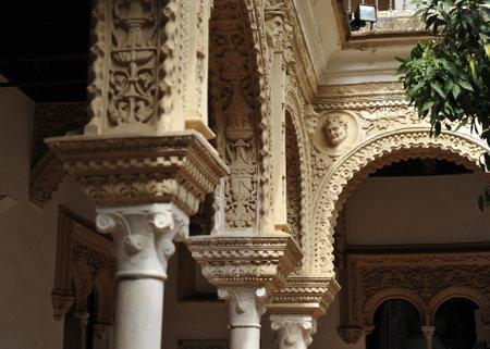 plasterwork: Details of Renaissance architecture, Palace House Pinelo, Seville, Andalusia, Spain