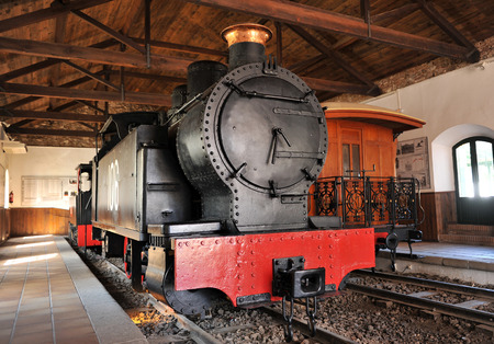 Old steam locomotive well preserved, Rio Tinto mines, Huelva province, Spain