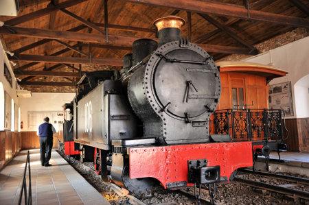 industrial heritage: Old steam locomotive well preserved, Rio Tinto mines, Huelva province, Spain