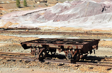 old railroad cars abandoned mineral transport, Rio Tinto mines, Huelva province, Spain photo