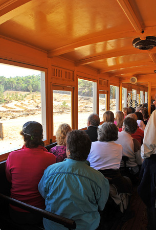Tourist train in the Rio Tinto mines, travelers, Huelva province, Spain photo