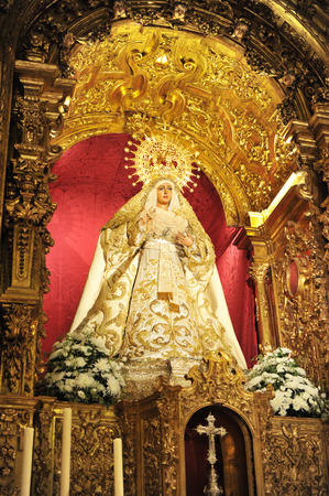 holy week in seville: Virgin Esperanza de Triana, Holy Week of Seville, Andalusia, Spain