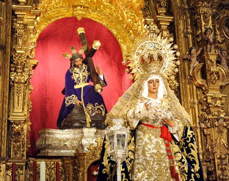semana: Virgin Esperanza de Triana and Jesus Christ with the cross, Seville, Andalusia, Spain