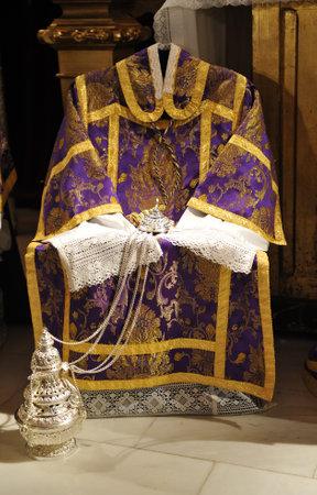 religious clothing: Religious clothing, dalmatic, censer, Catholic liturgy, Easter Week Editorial