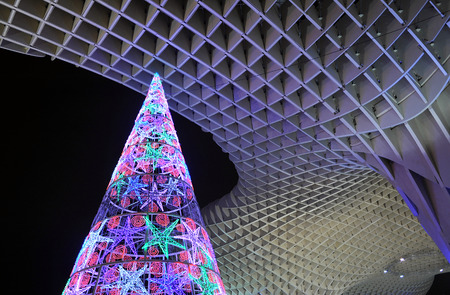 incarnation: Christmas tree with colored lights, Seville, Andalusia, Spain Editorial