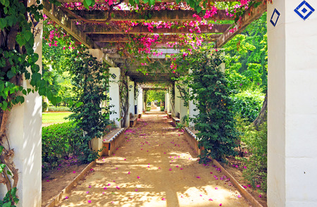 Romantic garden, Maria Luisa Park in Seville, Andalusia, Spain Stock Photo