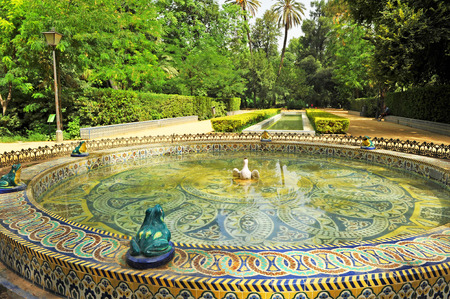 monumental: Monumental ceramic fountain, Maria Luisa Park in Seville, Andalusia, Spain Stock Photo