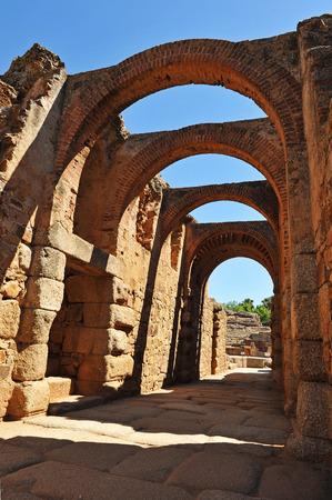 Roman amphitheater of Merida, monumental entrance, Badajoz Province, Extremadura, Spain photo