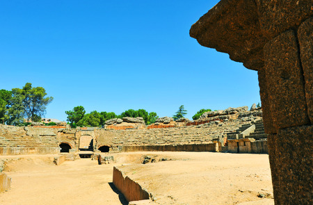 Roman amphitheater, Merida, Badajoz Province, Extremadura, Spain