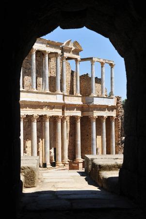 Scene of roman theater in Merida, Badajoz Province, Extremadura, Spain Stock Photo