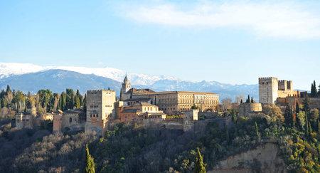 mirador: Palace of the Alhambra in Granada viewed from the Mirador de San Nicolas, Granada, Andalusia, Spain Editorial