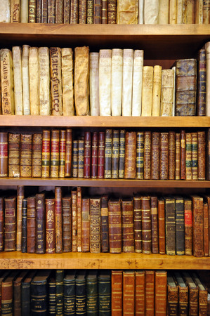 Large private library, shelf of old books, bookstore Editorial