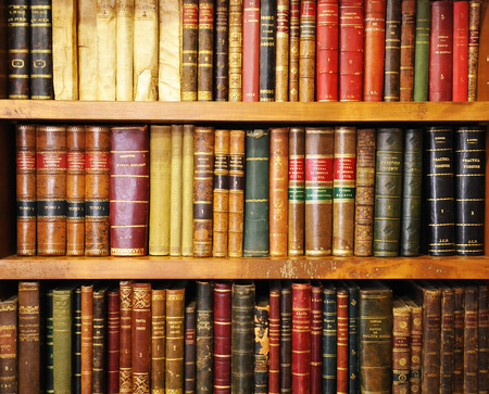 Library, shelf of old books, bookstore