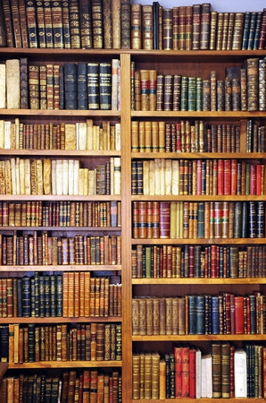 Shelf of old books, bookstore, library, store of old books