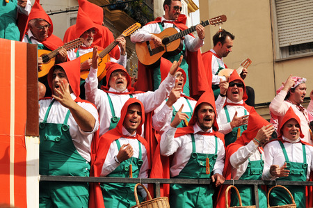 Cadiz Carnival choir performing in the street in Andalusia, Spain