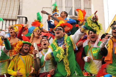 Cadiz Carnival, choir performing in the street, carnival atmosphere, Andalusia, Spain