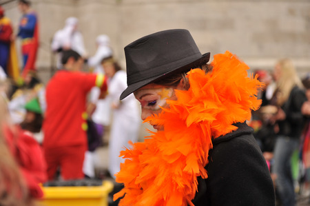intonation: Carnival disguises on the street, young girl, Cadiz, Andalusia, Spain Editorial