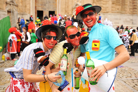 intonation: Carnival disguises on the street, Cadiz, Andalusia, Spain